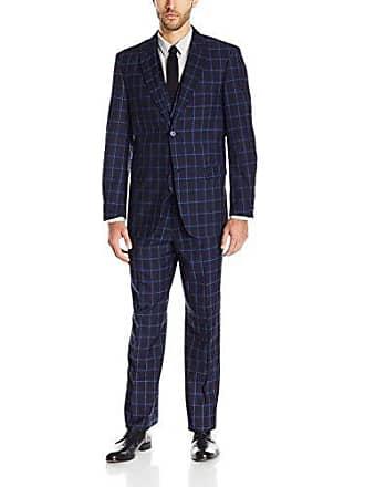 Stacy Adams Mens Metro Vest Plaid Slim Fit Suit, Navy, 46 Long