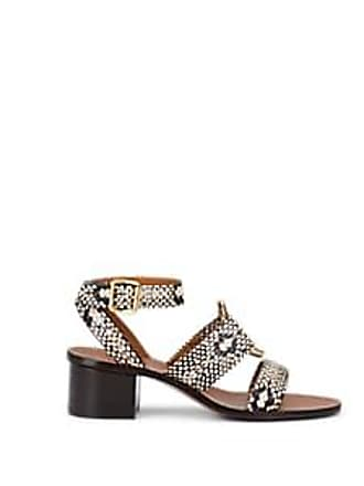 cb43c6cad33 Chloé Womens Rony Stamped Leather Ankle-Strap Sandals - Gray Size 11