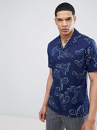 Antony Morato Blå kortärmad skjorta med platt krage och kaktusmönster -  Ljusblå b9e2ddc861b56