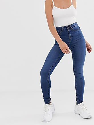 Noisy May Jeans vita alta skinny lavaggio blu medio