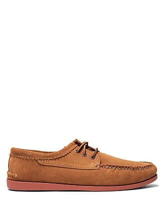 Quoddy Blucher Suede Moccasins - Mens - Brown