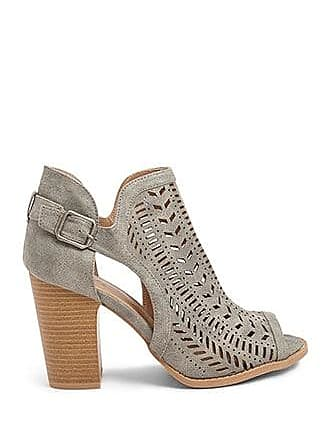 Forever 21 Forever 21 Faux Leather Cutout Booties Grey