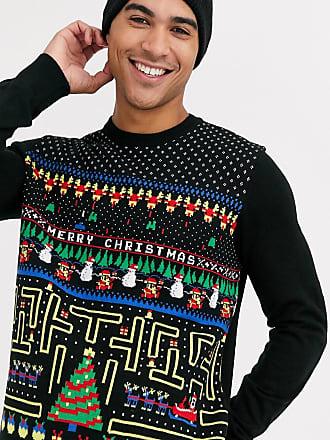 Burton Menswear Kerstmis - Retro gaming-kersttrui-Zwart