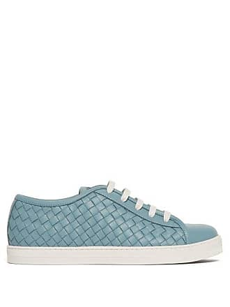 Bottega Veneta Intrecciato Leather Trainers - Womens - Blue