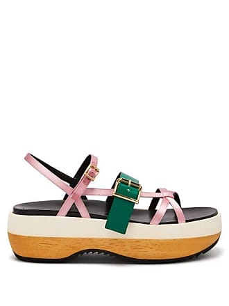 Marni Slingback Satin And Leather Flatform Sandals - Womens - Pink Multi