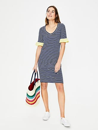 Boden Imogen Jersey Dress Lapis/Ivory Stripe Women Boden