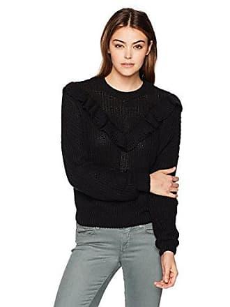 Blank NYC Womens Ruffle Sweater, Black of Night, X-Small
