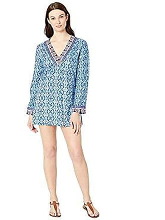 La Blanca Womens V-Neck Tunic Swim Cover-Up, Blue, L