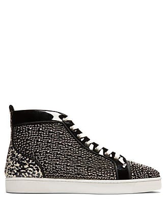Christian Louboutin Louis Orlato High Top Patent Leather Trainers - Mens - Black Multi