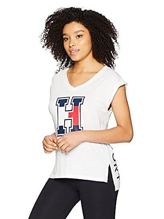 b15c133d Tommy Hilfiger Womens V Neck Graphic Muscle TEE, White, Large