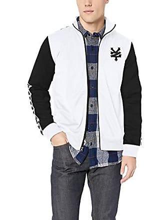 Zoo York Mens Jacquard Taped Zipper Jacket, White, X-Large