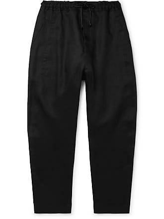 Isabel Benenato Black Tapered Linen Drawstring Trousers - Black