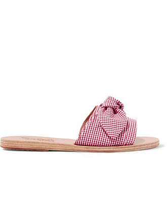 4598f470b1edf Ancient Greek Sandals Taygete Bow-embellished Gingham Cotton Slides - Red