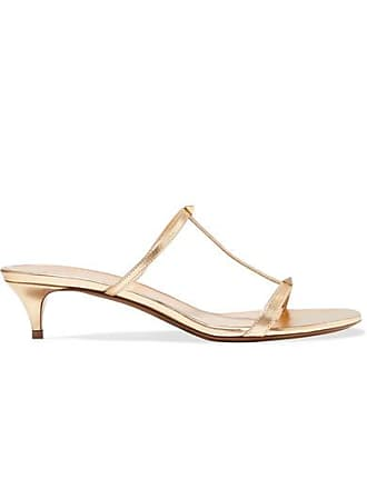 ef1fe8381 Valentino Valentino Garavani The Rockstud Nude 40 Metallic Leather Mules -  Gold
