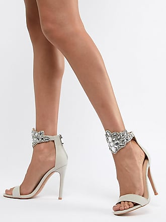 Qupid Emebellished Heeled Sandals - Gray