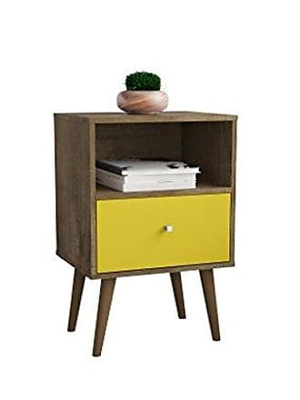 Manhattan Comfort 203AMC94 Liberty Modern 1 Drawer Bedroom Nightstand/End Table, Rustic Brown/Yellow