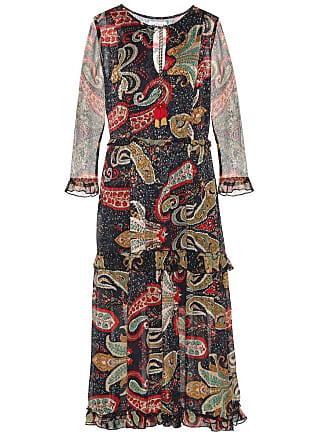 Velvet Glimmer printed crêpe midi dress