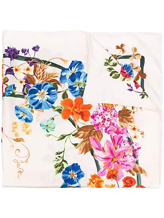 Salvatore Ferragamo Lenço de seda com estampa floral - Branco