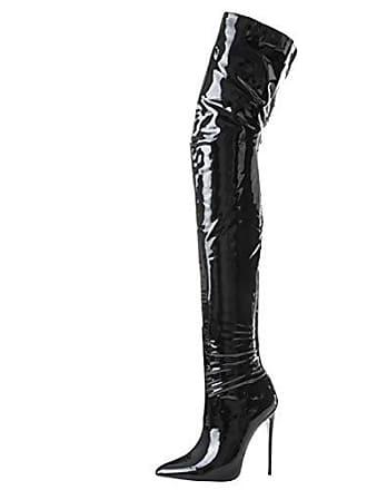 30e4b66e331eae Aiyoumei Damen Spitz Stiletto Lack Overknee Stiefel mit 12cm Absatz High  Heels Elegant Perty Stiefel Schuhe