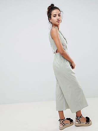 b6eb72f392d Asos tea jumpsuit in cotton with tie and cut out detail - Blue