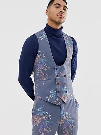 Asos Chaleco de traje ajustado de mezcla de lana con estampado azul floral de  ASOS DESIGN fdf5bc21aaf6