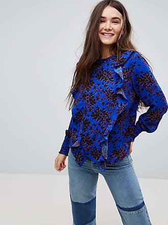 Only Blommig blus med hög krage och rynkning - Flerfärgad b646547da1763
