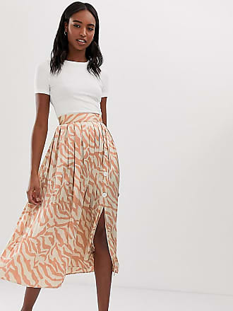 1a583401e8 Asos Tall ASOS DESIGN Tall pleated midi skirt with buttons in tiger print