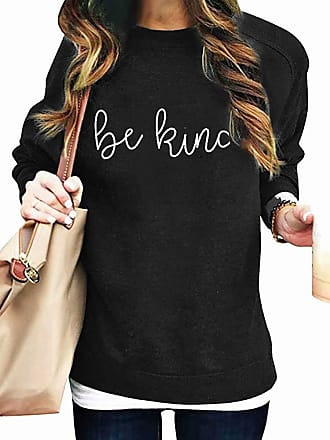 Dresswel Be Kind Sweatshirts Womens Pullover Crew Neck Long Sleeve Tops Jumpers Blouse (Black, XL)