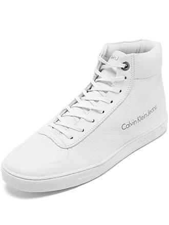 47e1919c5624f Calvin Klein Tênis Couro Calvin Klein Logo Branco