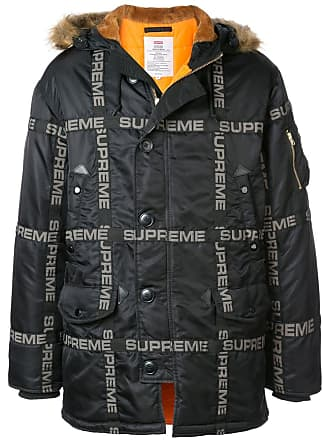SUPREME logo tape parka coat - Black