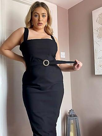 Vesper Vestito al polpaccio con cintura e scollo quadrato nero
