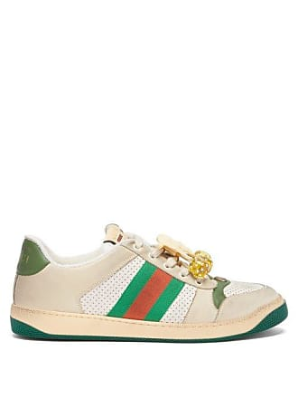 156b31a5a10 Gucci Screener Gg Cherry Embellished Leather Trainers - Mens - White Multi