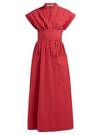 Three Graces London Clarissa Cotton Midi Dress - Womens - Red