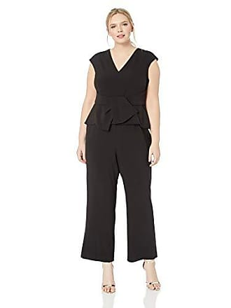 Vince Camuto Womens Plus Size Extended Cap Sleeve Jumpsuit with Peplum, Black 22W