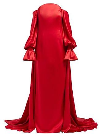 e535f8792b831 Carolina Herrera Off The Shoulder Silk Satin Gown - Womens - Red Multi