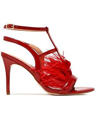 809eaa18532709 Halston Heritage Halston Heritage Woman Tasha Feather-embellished Patent-leather  Sandals Claret Size 8.5