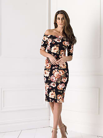 Alloy Apparel Rosa Off The Shoulder Dress Black Floral Size XS - Polyester