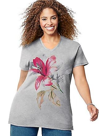 Just My Size Tropical Flower Short Sleeve Graphic Tee Light Steel 1X