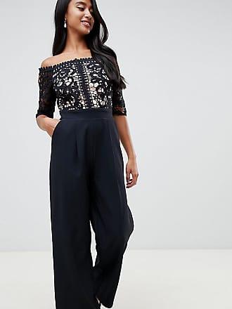 24332ddf36 Little Mistress Petite lace applique top tailored jumpsuit in black