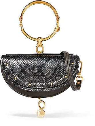 1d40bf62fe Chloé Nile Bracelet Mini Snake-effect Leather Shoulder Bag - Anthracite