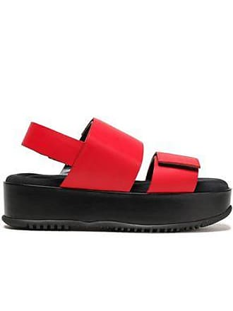 Marni Marni Woman Glossed-leather Platform Slingback Sandals Red Size 38