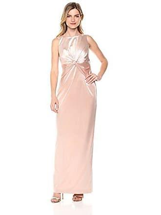 Adrianna Papell Womens Halter Twisted Waist Column Long Dress, Blush, 4