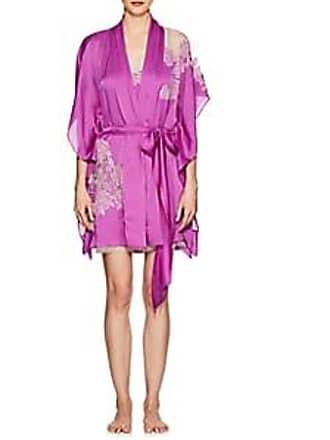 Carine Gilson Womens Lace-Trimmed Silk Short Robe - Magnolia 85934b437
