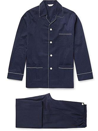 891541d118 Derek Rose Royal Pin-dot Cotton-jacquard Pyjama Set - Navy