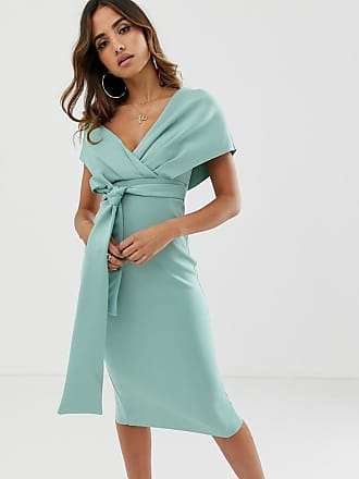 Asos fallen shoulder midi pencil dress with tie detail - Blue