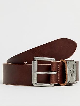 Armani leather logo keeper belt in brown - Brown
