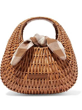 Loeffler Randall Lorna Wicker And Gingham Canvas Tote - Brown