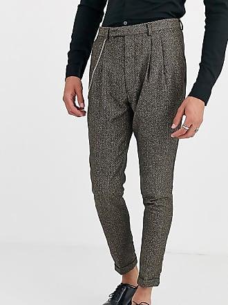 Twisted Tailor Tall - Pantaloni cropped da abito affusolati a spina di pesce-Marrone
