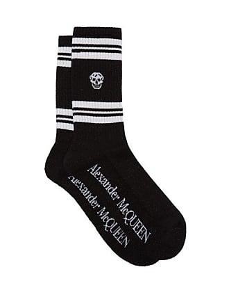 436768a94863f Alexander McQueen Alexander Mcqueen - Skull Jacquard Metallic Cotton Blend  Socks - Mens - Black White