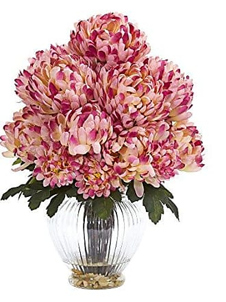 Nearly Natural 1597-MA Mum Artificial Vase Silk Arrangements Mauve
